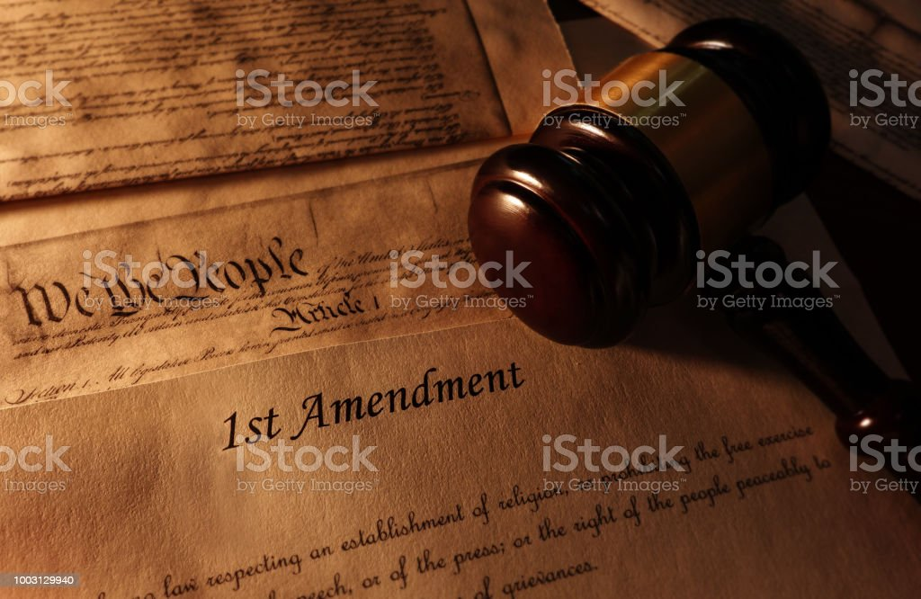 First Amendment text and gavel stock photo