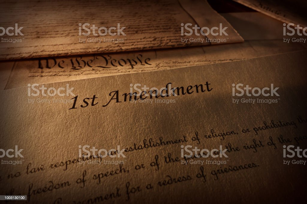 First Amendment text stock photo