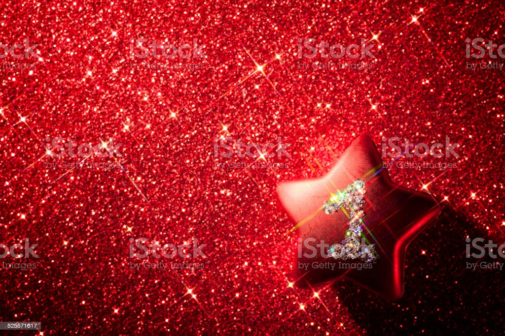 First Anniversary Star - Christmas Glitter Background One Red Advent stock photo