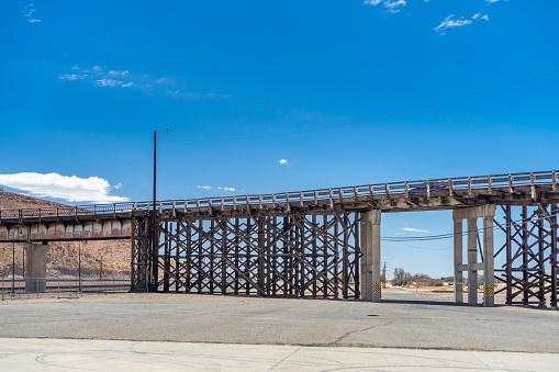 Barstow, CA, USA – July 3, 2021: Portion view of the old First Avenue Bridge in Barstow, California.