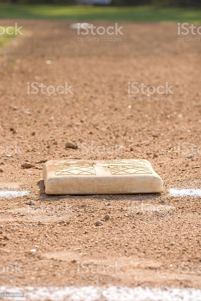 First Base on Baseball Diamond royalty-free stock photo