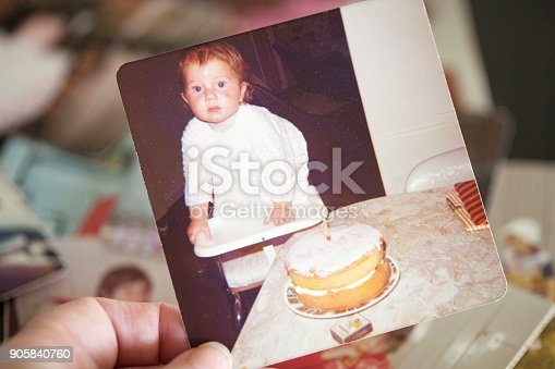 An old photograph on a baby celebrating her first birthday in 1974. Same model in background photos.