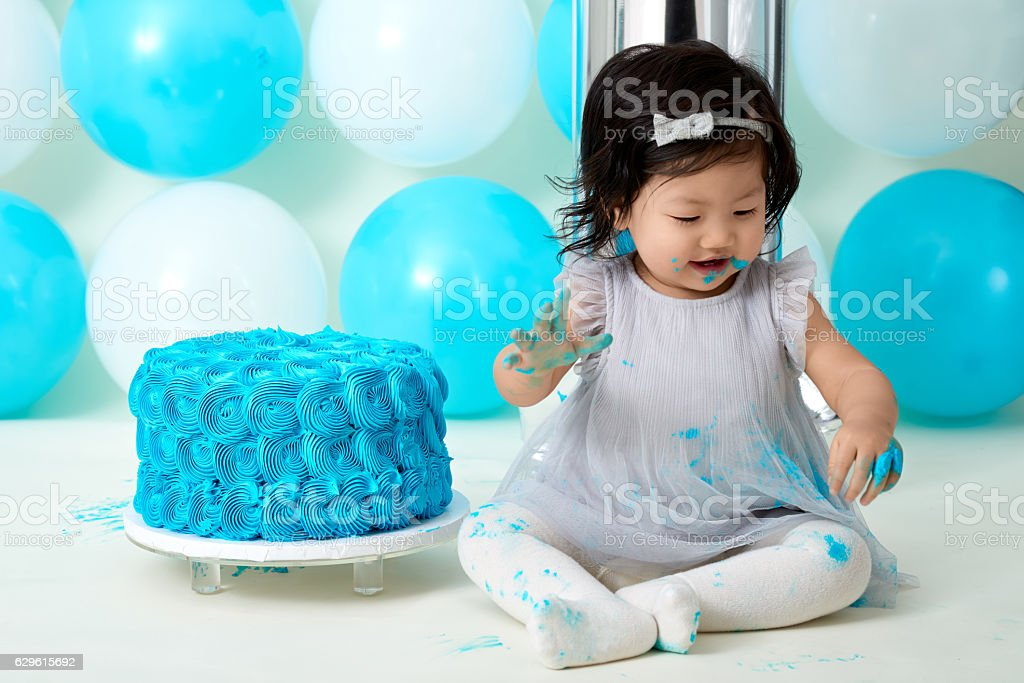 First Birthday Cake Smashing Lizenzfreies Stock Foto