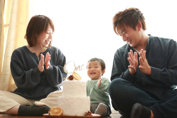 First birthday for asian baby Japanese family celebrate for baby boy's first birthday first birthday stock pictures, royalty-free photos & images