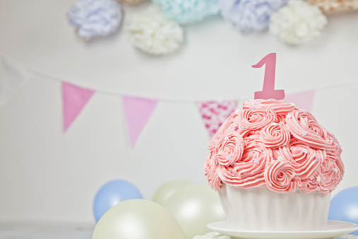 First Birthday Giant Pink Cup Cake Stock Photo More Pictures Of 2015