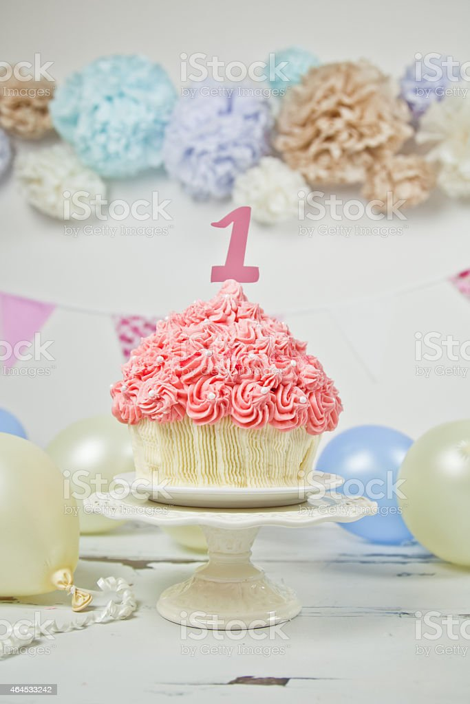 Cool First Birthday Giant Pink Cup Cake Stock Photo Download Image Personalised Birthday Cards Sponlily Jamesorg