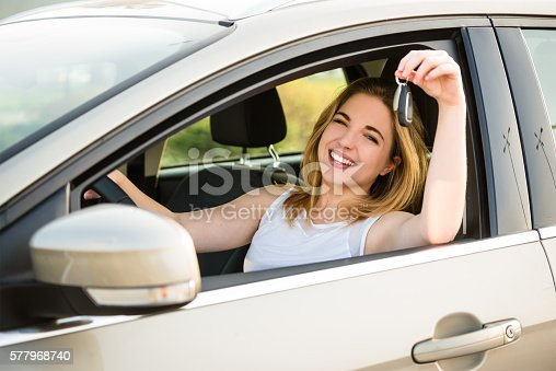607592606istockphoto First car - young woman with keys 577968740