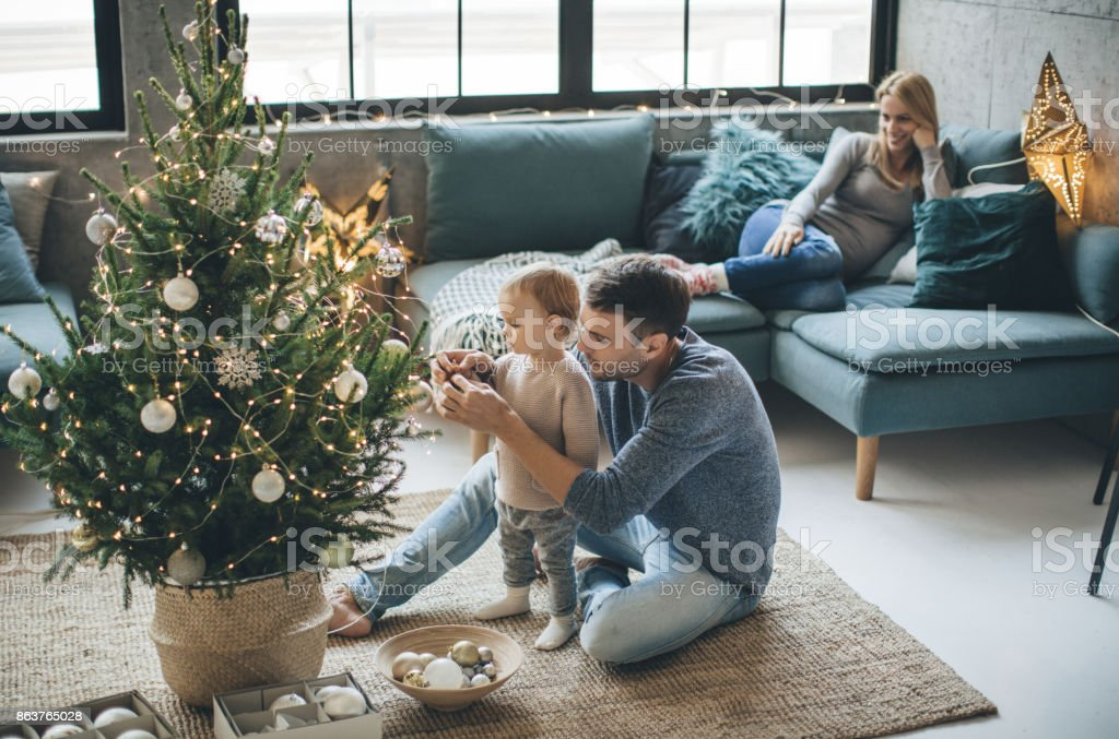First Christmas as a family stock photo