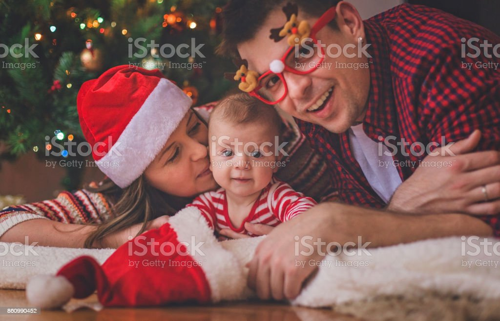 First Christmas with our cute baby son stock photo