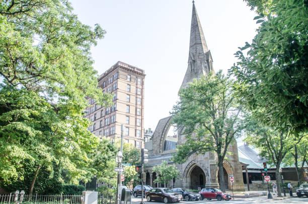 Erste Kirche von Boston an der Ecke von Berkeley und Marlborough Sommertag – Foto