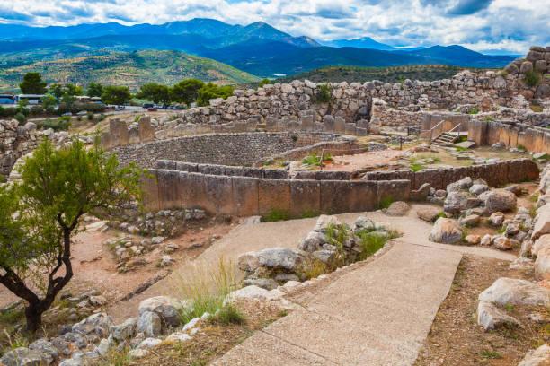 First circle of royal tombs, Citadel of Mycenae, Greece stock photo