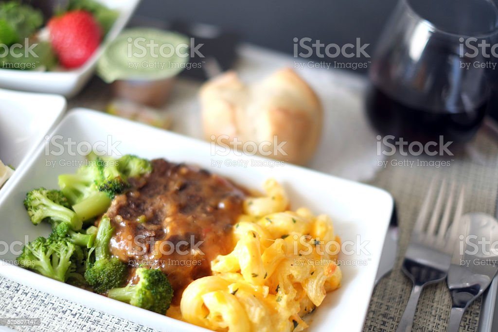 First class airline meal stock photo