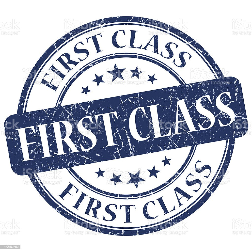 first class blue grunge stamp stock photo
