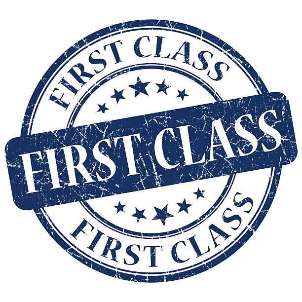 sello de primera clase azul grunge de - suministros escolares fotografías e imágenes de stock