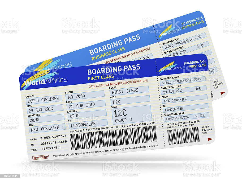 First class boarding passes for a flight to London stock photo