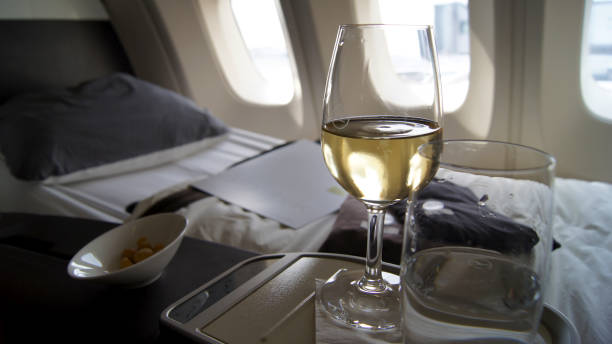 FRANKFURT, GERMANY - SEPTEMBER 28, 2014: First Class Dining onboard stock photo