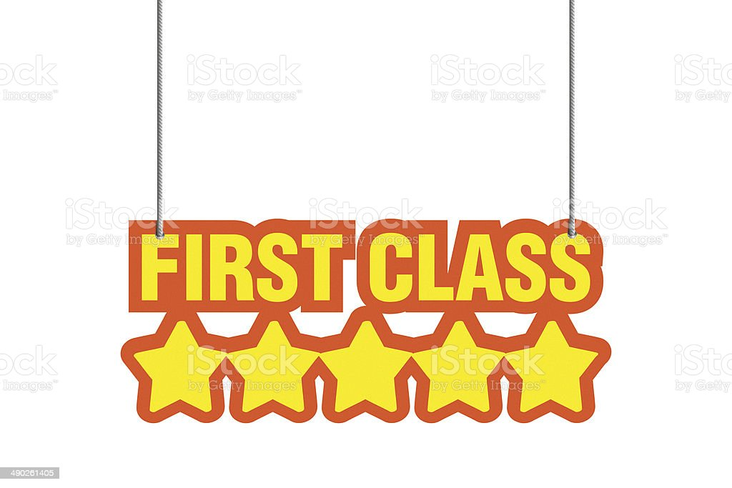First Class 'FIVE STARS' shaped label royalty-free stock photo