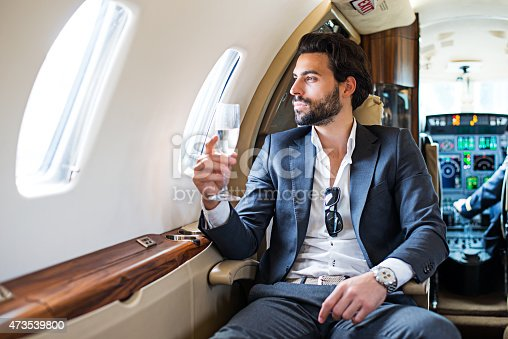istock First class of private jet airplane 473539800
