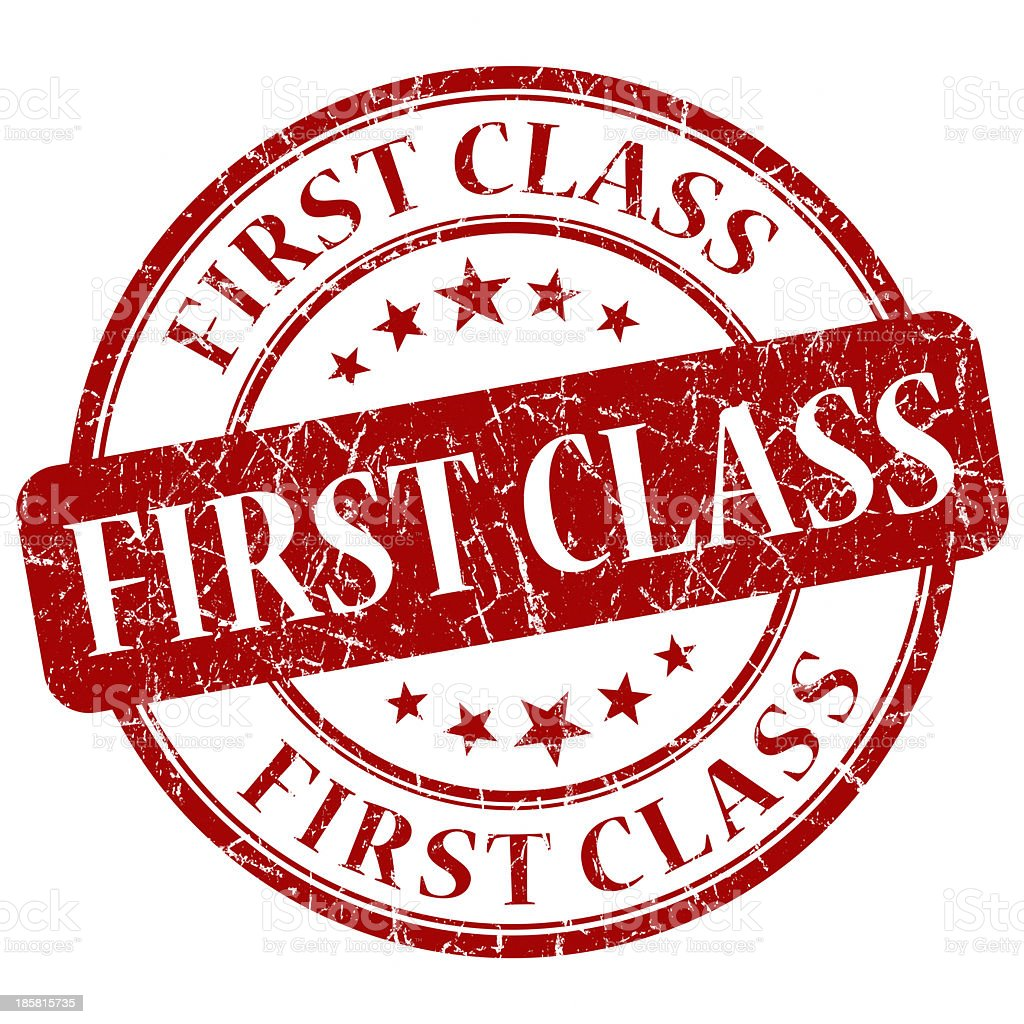 first class red round stamp stock photo