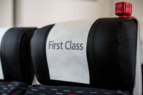 First class train seat stock photo
