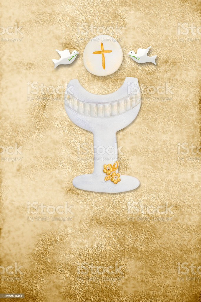first communion card, chalice, wafer and pigeons, parchment background