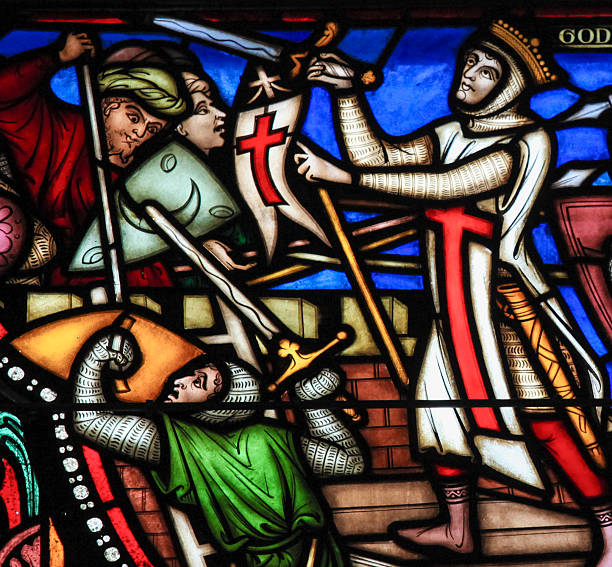 first crusade - stained glass - the crusades stock photos and pictures
