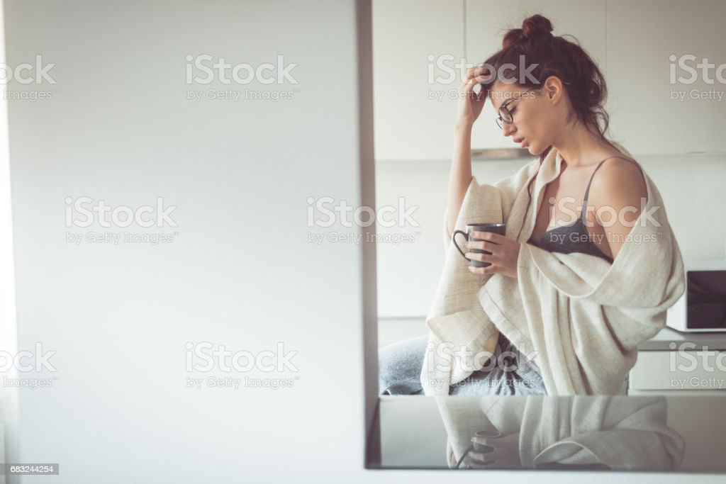 First cup of coffee in the morning royalty-free stock photo