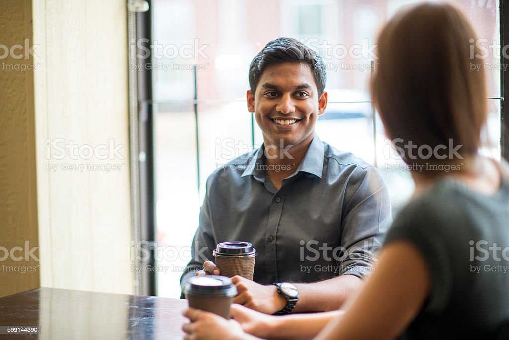 First Date at a Cafe stock photo