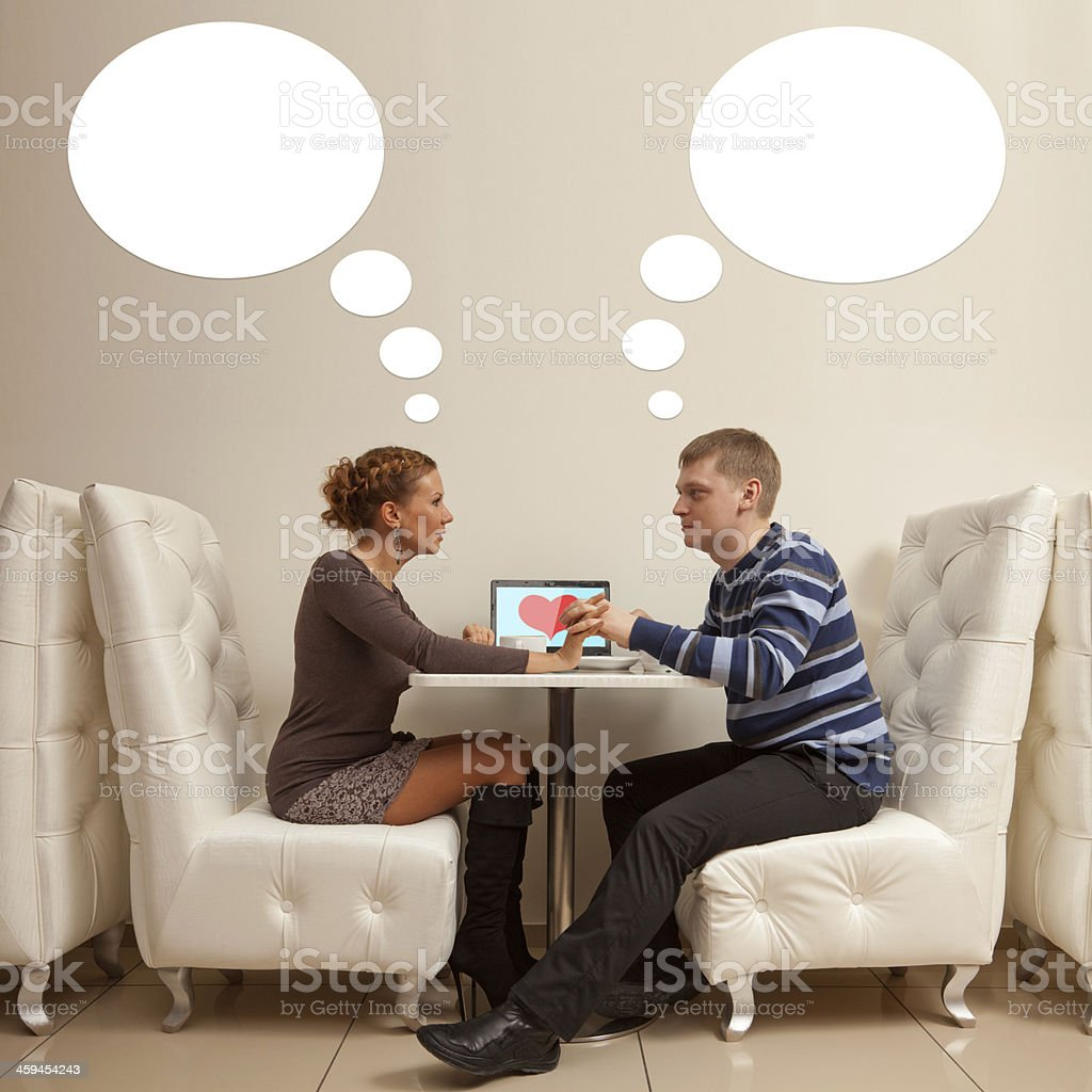 First date in cafe stock photo