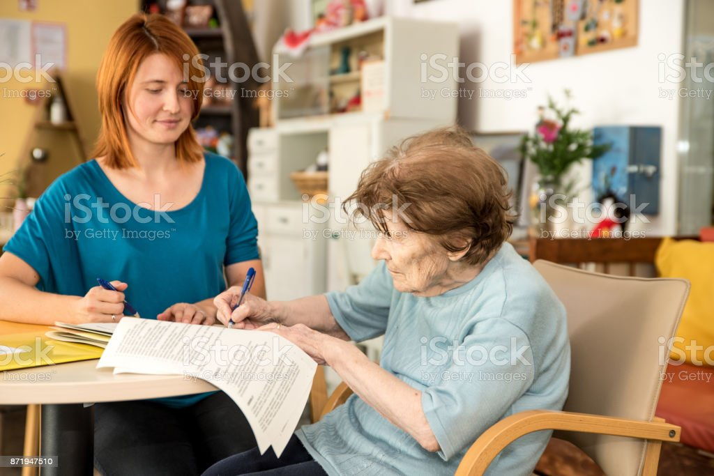 First Day at Retirement Home stock photo