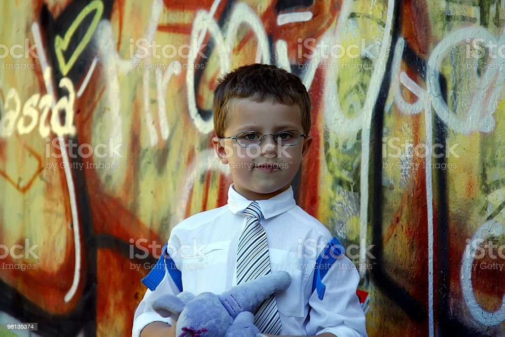 First day at school on schoolyard royalty-free stock photo