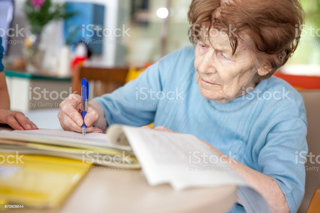First Day at the Nursing Home stock photo