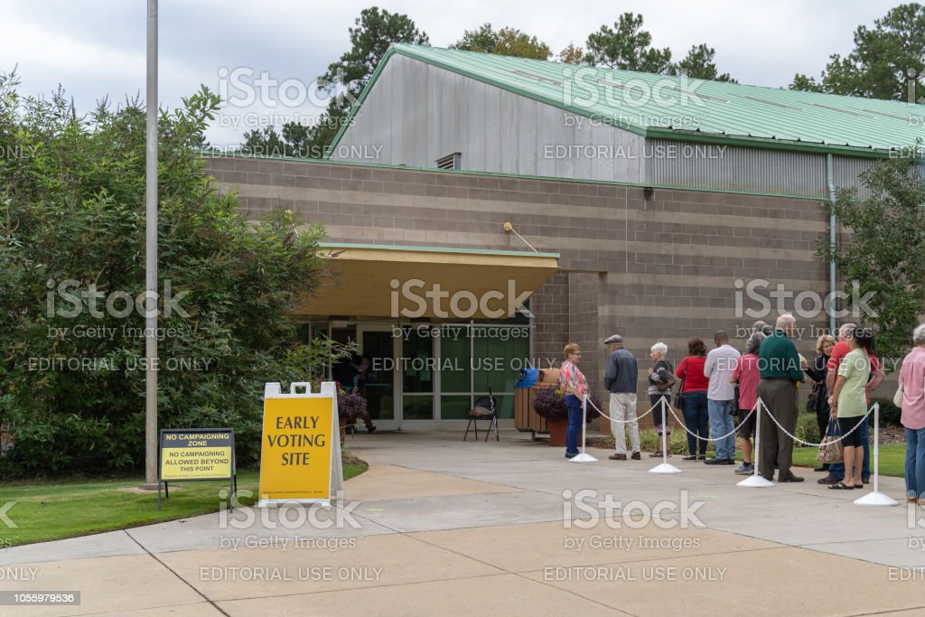 First day of early voting Raleigh, North Carolina 2018 midterm election stock photo