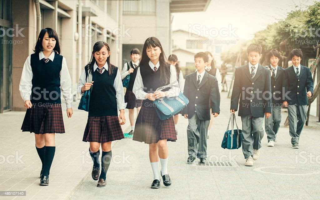 First day of school in Japan stock photo