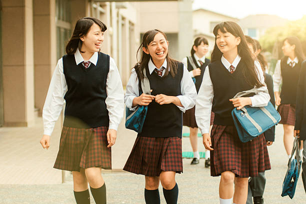first day of school in japan - japanese culture stock photos and pictures