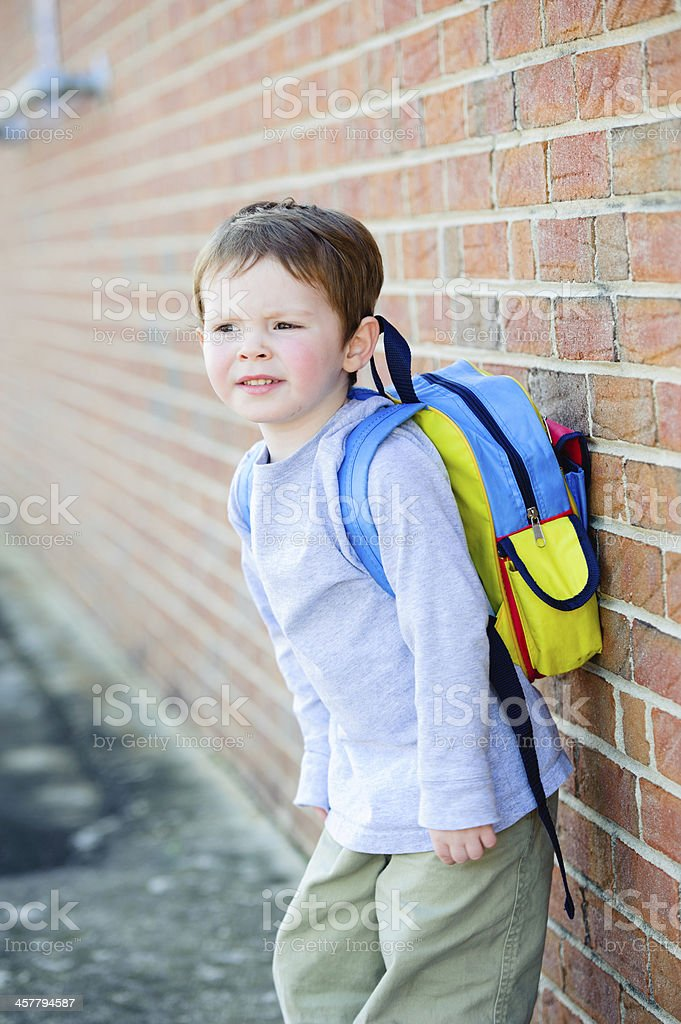 First Day of School - Leaning royalty-free stock photo