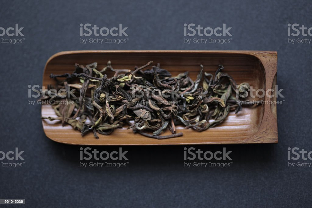 First Flush Ghaan on bamboo tea scoop - Royalty-free Bamboo - Material Stock Photo