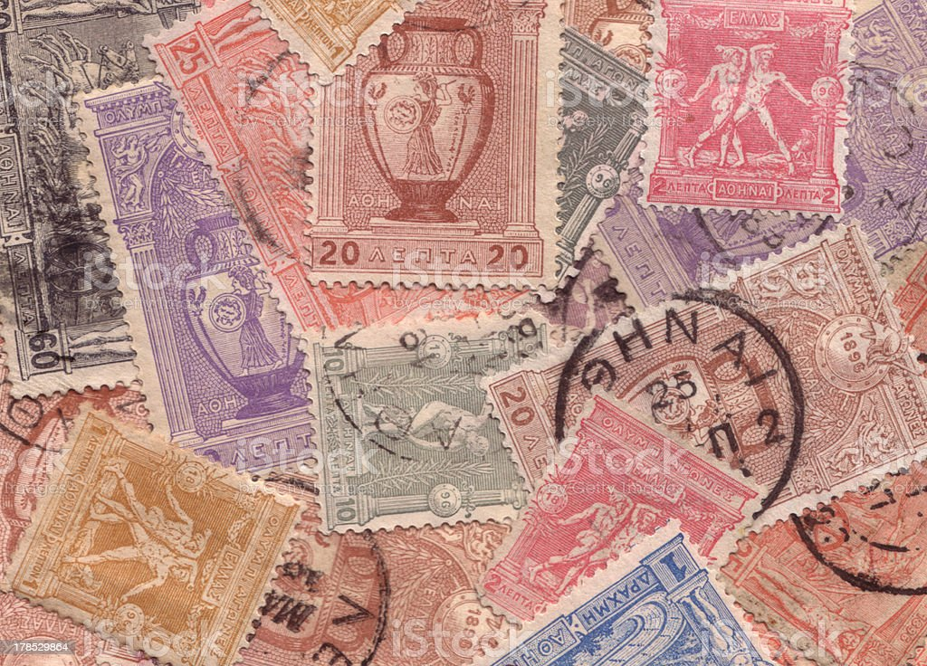 First . Games Greek stamps collection background c.1896 stock photo