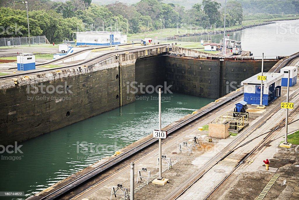 First Gate of the Gatun Lock Panama Canal royalty-free stock photo