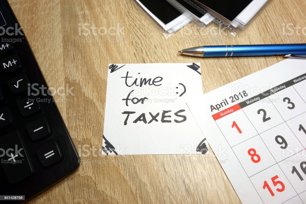 First half of april 2018 as time for taxes stock photo