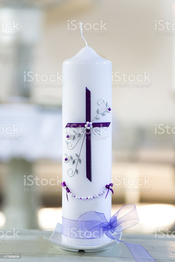 First Holy Communion Candle stock photo