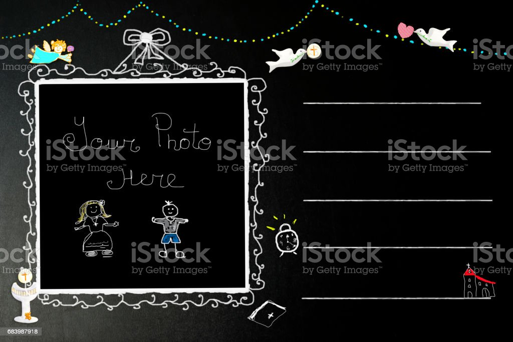First Holy Communion photo frame invites stock photo