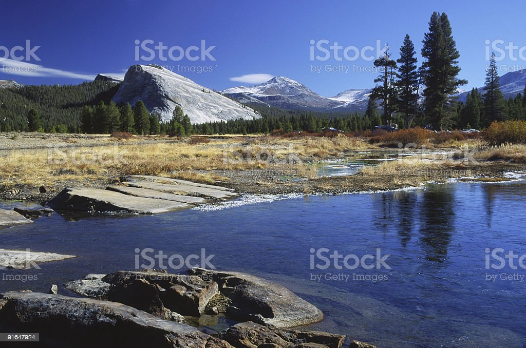 First ice on Tuolumne River in Yosemite stock photo