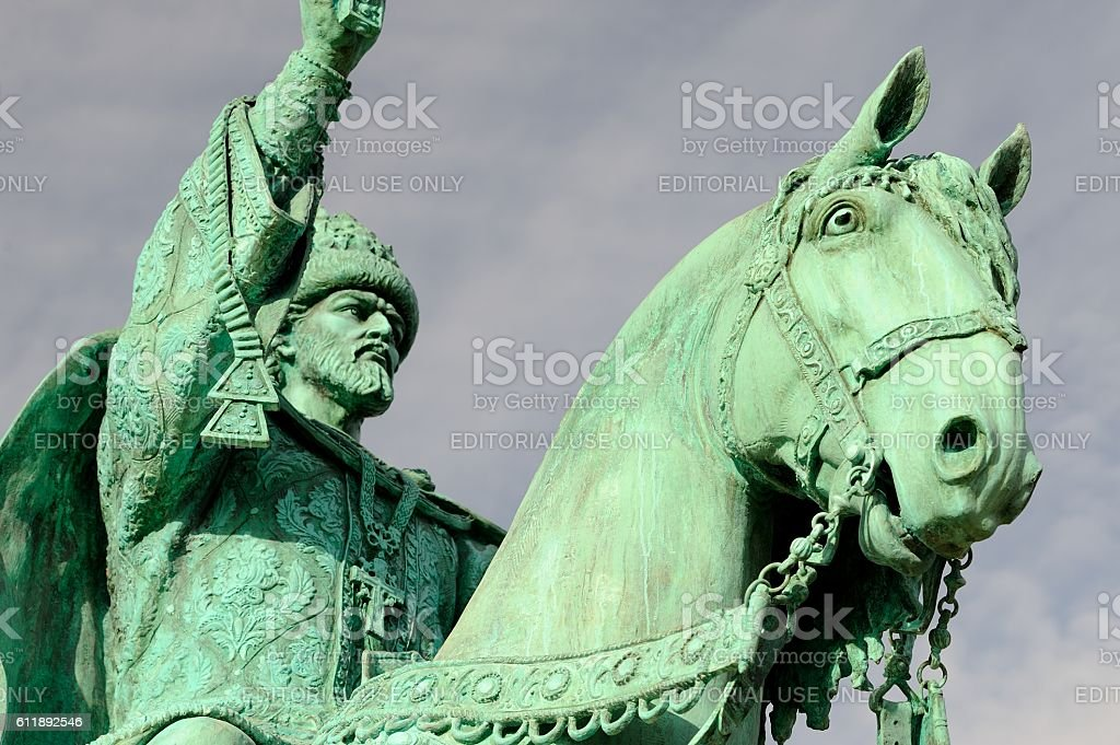 First in Russia Ivan the Terrible monument closeup stock photo