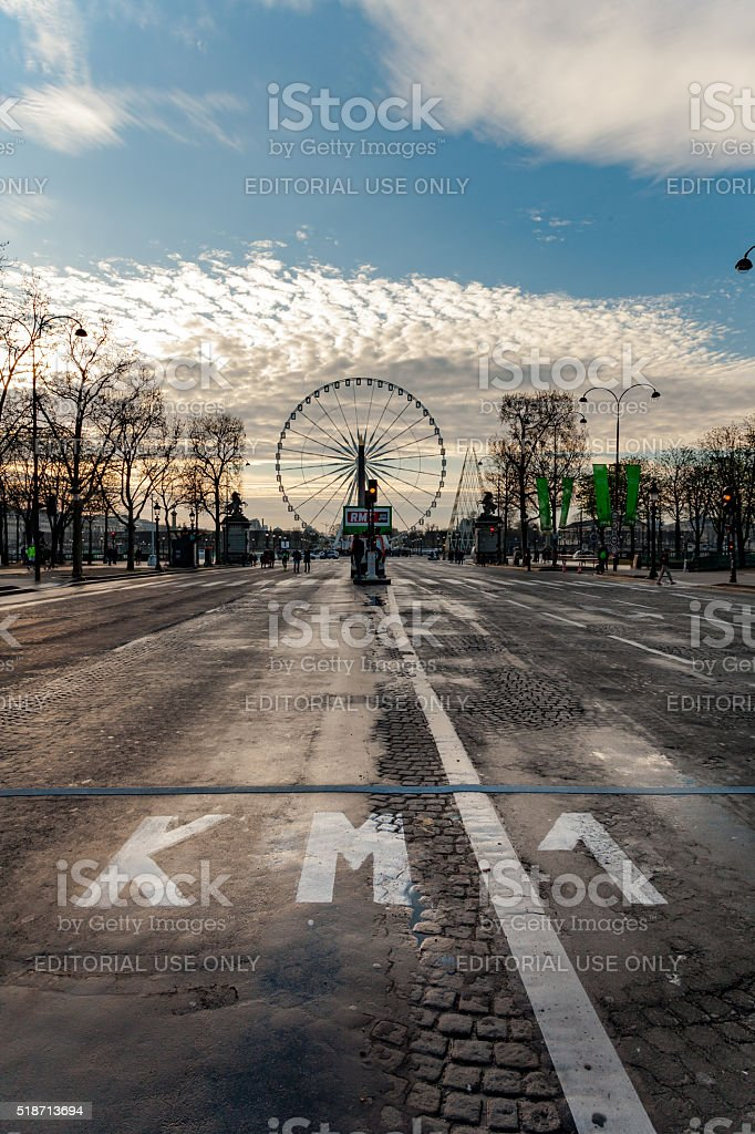 First Kilometer at Champs Elysees stock photo