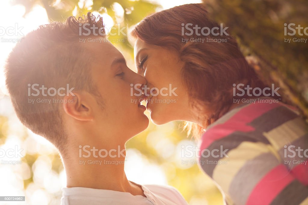 First kiss stock photo