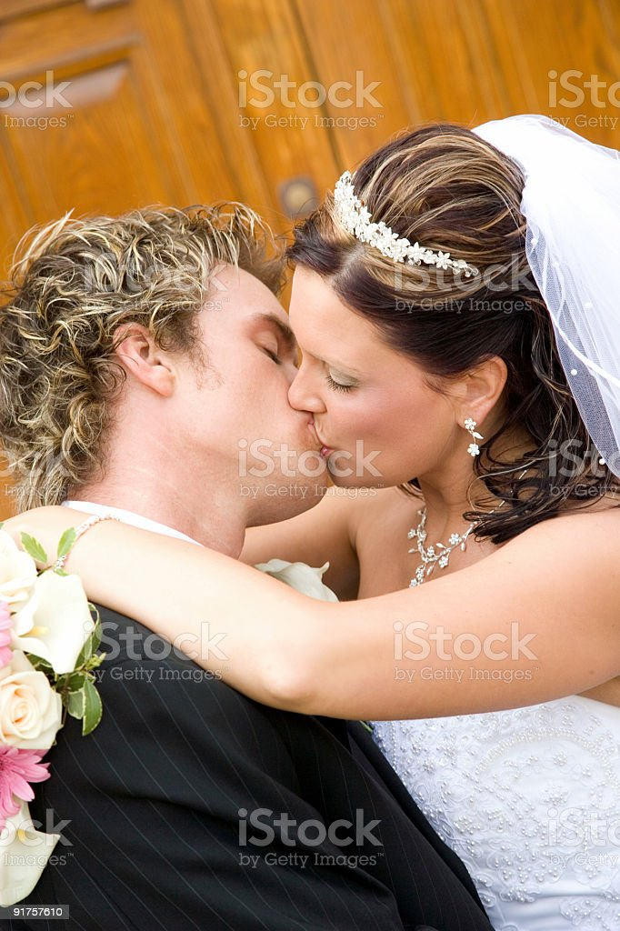 First Kiss royalty-free stock photo