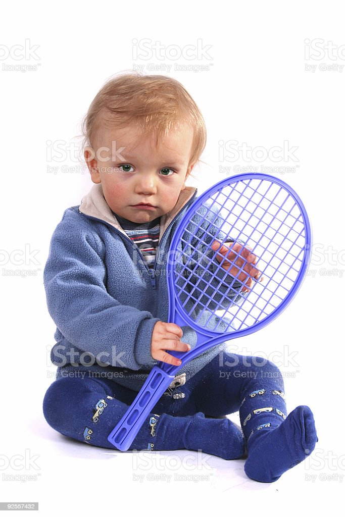 First lesson of tennis royalty-free stock photo