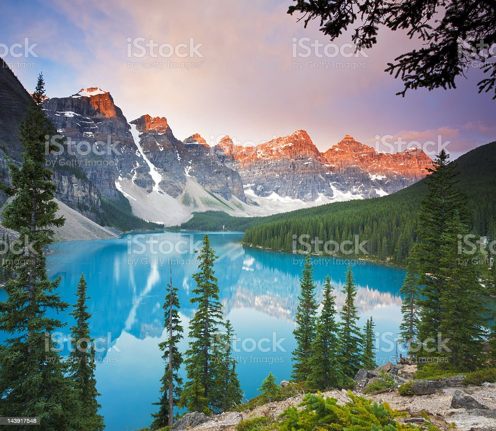 First Light at Moraine Lake stock photo