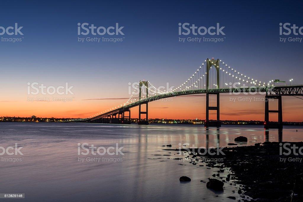 First light at Newport RI stock photo